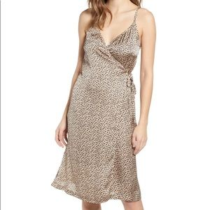 Satin Cheetah print wrap dress